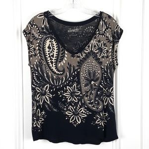 Lucky Brand | Black Gray Paisley Floral Top